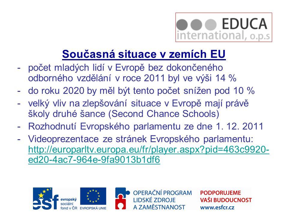 Současná situace v zemích EU -počet mladých lidí v Evropě bez dokončeného odborného vzdělání v roce 2011 byl ve výši 14 % -do roku 2020 by měl být tento počet snížen pod 10 % -velký vliv na zlepšování situace v Evropě mají právě školy druhé šance (Second Chance Schools) -Rozhodnutí Evropského parlamentu ze dne 1.