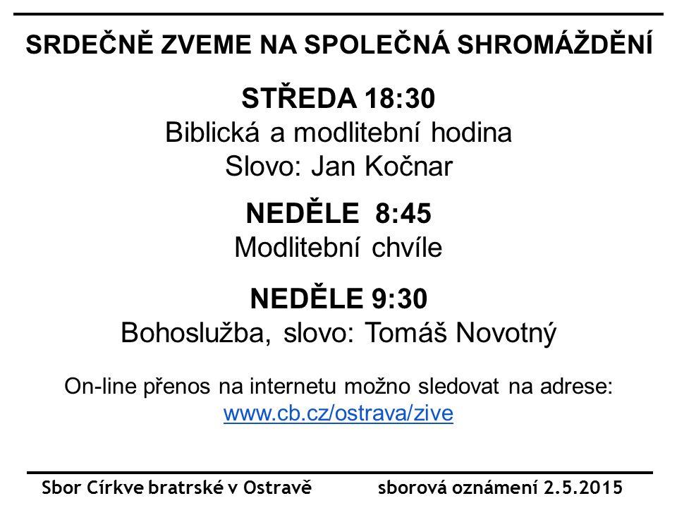Sbor Církve bratrské v Ostravě sborová oznámení 2.5.