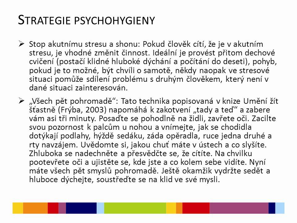 S TRATEGIE PSYCHOHYGIENY  Stop akutnímu stresu a shonu: Pokud člověk cítí, že je v akutním stresu, je vhodné změnit činnost. Ideální je provést přito