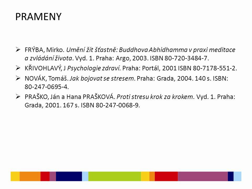PRAMENY  FRÝBA, Mirko. Umění žít šťastně: Buddhova Abhidhamma v praxi meditace a zvládání života. Vyd. 1. Praha: Argo, 2003. ISBN 80-720-3484-7.  KŘ