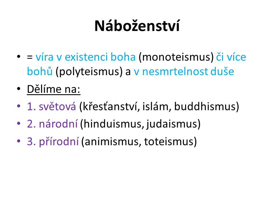 Náboženství = víra v existenci boha (monoteismus) či více bohů (polyteismus) a v nesmrtelnost duše Dělíme na: 1.