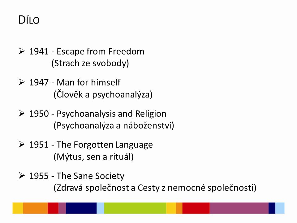  1941 - Escape from Freedom (Strach ze svobody)  1947 - Man for himself (Člověk a psychoanalýza)  1950 - Psychoanalysis and Religion (Psychoanalýza