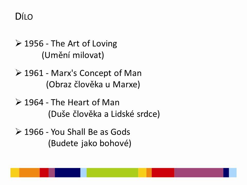  1956 - The Art of Loving (Umění milovat)  1961 - Marx's Concept of Man (Obraz člověka u Marxe)  1964 - The Heart of Man (Duše člověka a Lidské srd