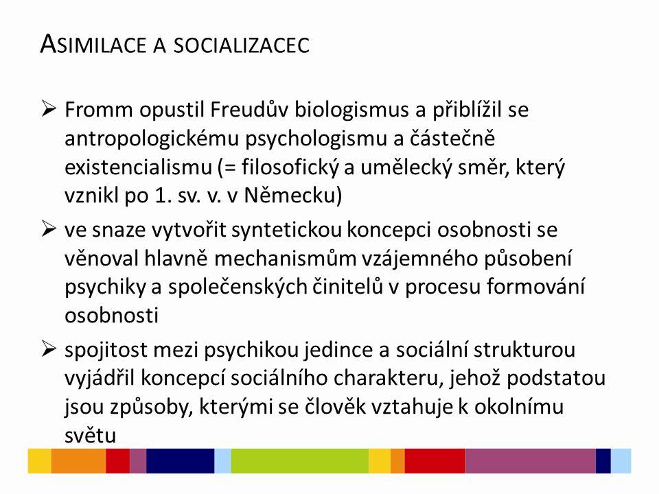 A SIMILACE A SOCIALIZACEC  Fromm opustil Freudův biologismus a přiblížil se antropologickému psychologismu a částečně existencialismu (= filosofický