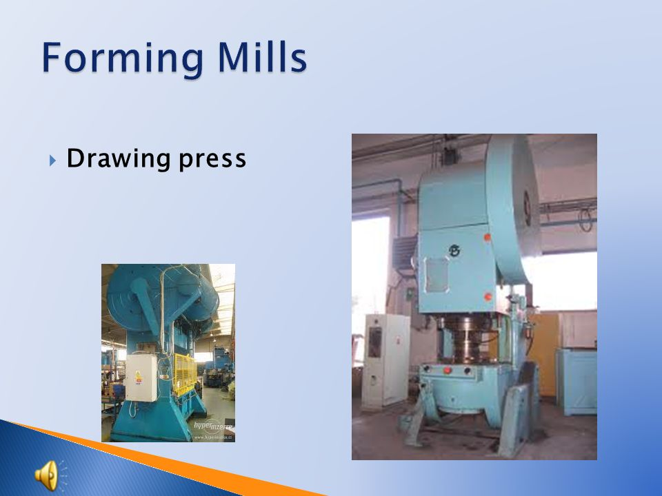  Forging press - spring  power hammer  Usage:  Forging die  Free forging  Propulsion: From electromotor through friction transmission to flywheel From crankshaft by mechanical levers to a ram Ram speed (ram blow) is increased due to upper two arm lever is made from pack of spring-leaves