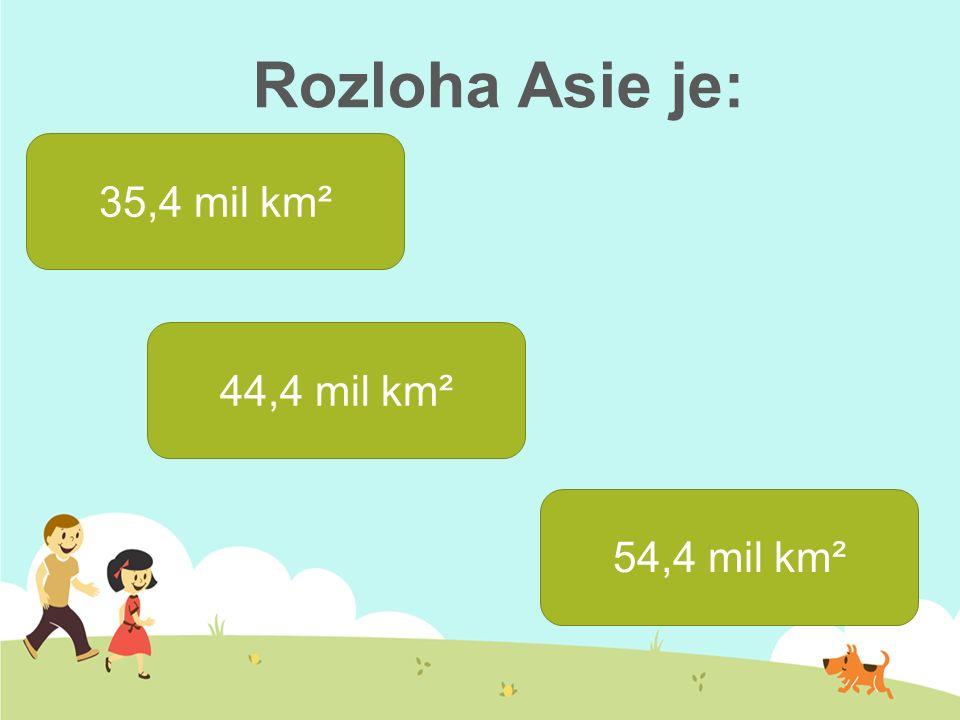 Rozloha Asie je: 35,4 mil km² 44,4 mil km² 54,4 mil km²