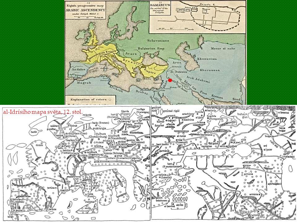 al-Idrísího mapa světa, 12. stol.