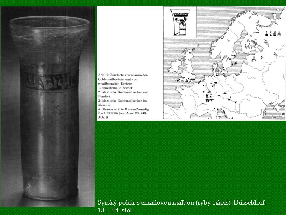 Syrský pohár s emailovou malbou (ryby, nápis), Düsseldorf, 13. – 14. stol.