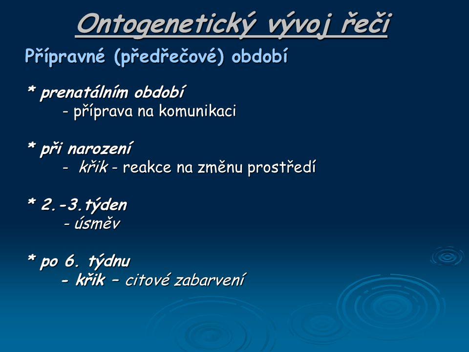 Ontogenetický vývoj řeči Přípravné (předřečové) období * prenatálním období - příprava na komunikaci - příprava na komunikaci * při narození - křik -