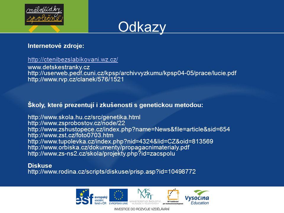 Odkazy Internetové zdroje: http://ctenibezslabikovani.wz.cz/ www.detskestranky.cz http://userweb.pedf.cuni.cz/kpsp/archivvyzkumu/kpsp04-05/prace/lucie.pdf http://www.rvp.cz/clanek/576/1521 Školy, které prezentují i zkušenosti s genetickou metodou: http://www.skola.hu.cz/src/genetika.html http://www.zsprobostov.cz/node/22 http://www.zshustopece.cz/index.php?name=News&file=article&sid=654 http://www.zst.cz/foto0703.htm http://www.tupolevka.cz/index.php?nid=4324&lid=CZ&oid=813569 http://www.orbiska.cz/dokumenty/propagacnimaterialy.pdf http://www.zs-ns2.cz/skola/projekty.php?id=zacspolu Diskuse http://www.rodina.cz/scripts/diskuse/prisp.asp?id=10498772
