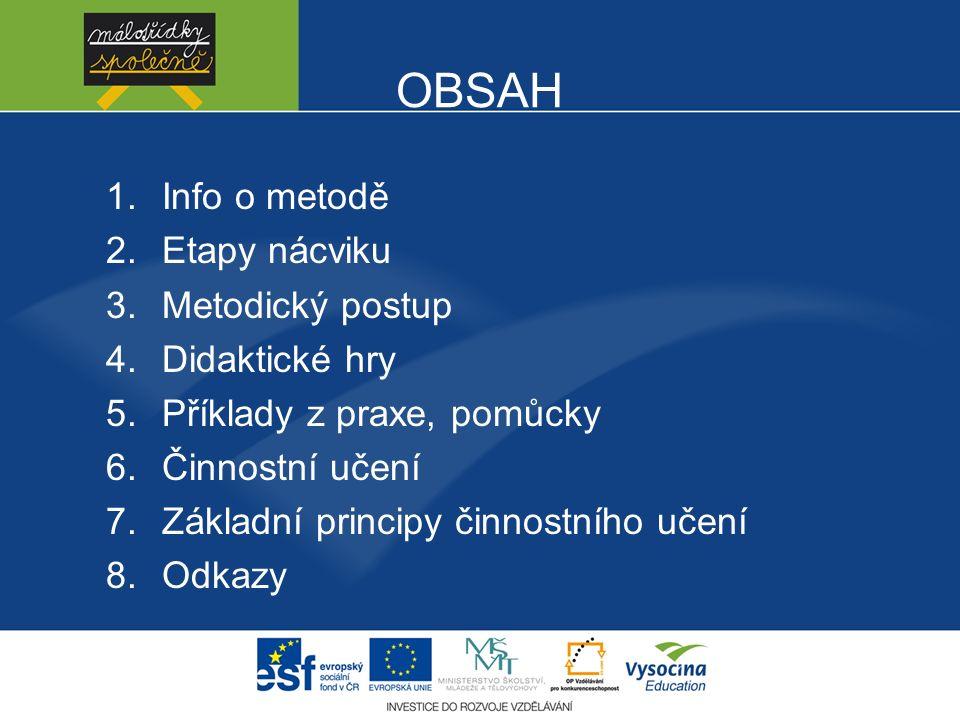 OBSAH 1.Info o metodě 2.Etapy nácviku 3.Metodický postup 4.Didaktické hry 5.Příklady z praxe, pomůcky 6.Činnostní učení 7.Základní principy činnostního učení 8.Odkazy