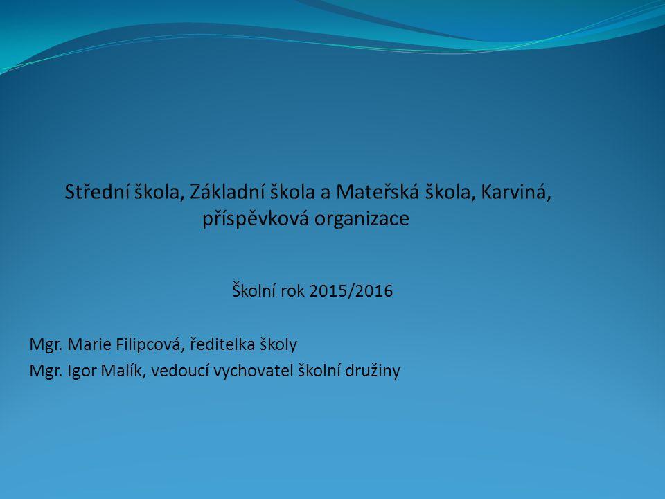 Školní rok 2015/2016 Mgr. Marie Filipcová, ředitelka školy Mgr. Igor Malík, vedoucí vychovatel školní družiny