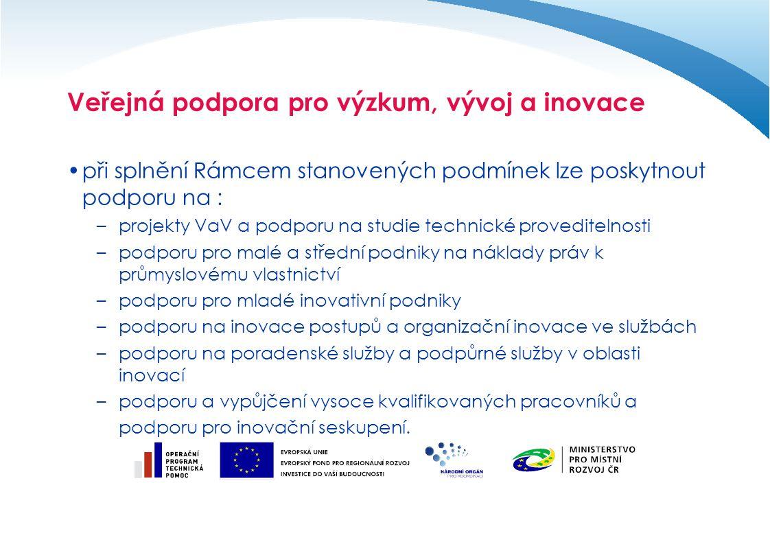 Veřejná podpora pro ochranu životního prostředí Oblasti možné aplikace obecného nařízení č.