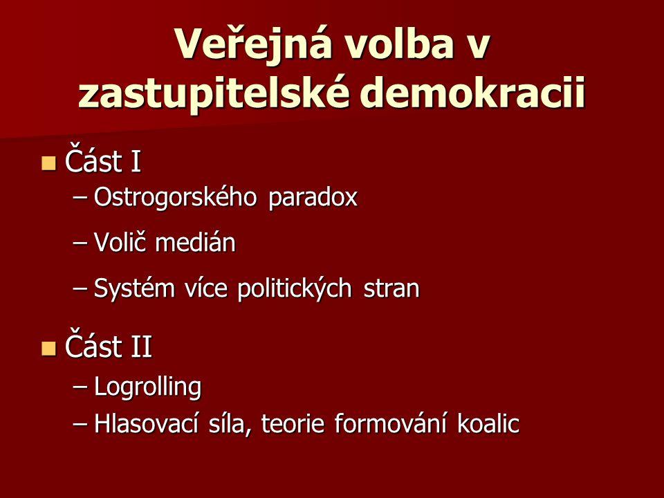 Veřejná volba v zastupitelské demokracii Část I Část I –Ostrogorského paradox –Volič medián –Systém více politických stran Část II Část II –Logrolling –Hlasovací síla, teorie formování koalic