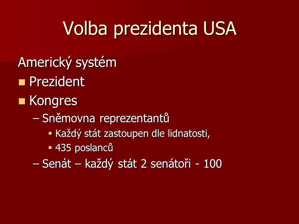 Volba prezidenta USA Americký systém Prezident Prezident Kongres Kongres –Sněmovna reprezentantů  Každý stát zastoupen dle lidnatosti,  435 poslanců –Senát – každý stát 2 senátoři - 100