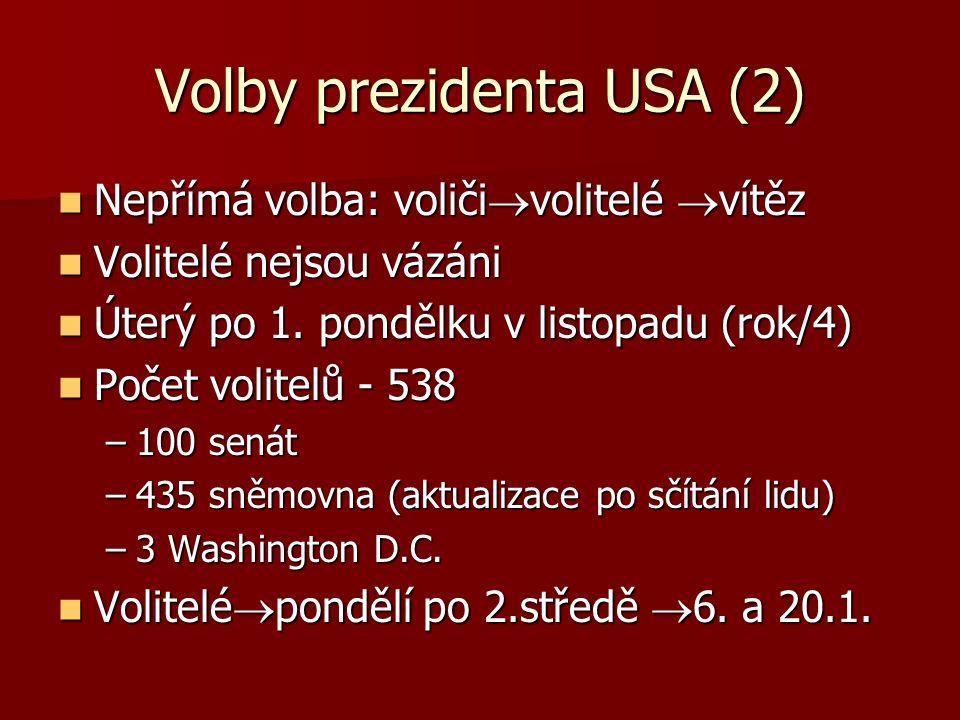Volby prezidenta USA (2) Nepřímá volba: voliči  volitelé  vítěz Nepřímá volba: voliči  volitelé  vítěz Volitelé nejsou vázáni Volitelé nejsou vázáni Úterý po 1.