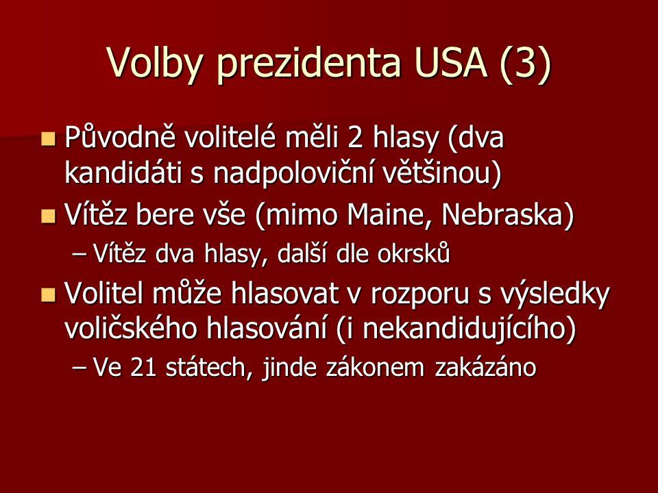 Volby prezidenta USA (3) Původně volitelé měli 2 hlasy (dva kandidáti s nadpoloviční většinou) Původně volitelé měli 2 hlasy (dva kandidáti s nadpoloviční většinou) Vítěz bere vše (mimo Maine, Nebraska) Vítěz bere vše (mimo Maine, Nebraska) –Vítěz dva hlasy, další dle okrsků Volitel může hlasovat v rozporu s výsledky voličského hlasování (i nekandidujícího) Volitel může hlasovat v rozporu s výsledky voličského hlasování (i nekandidujícího) –Ve 21 státech, jinde zákonem zakázáno