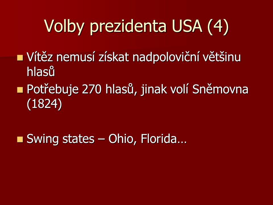 Volby prezidenta USA (4) Vítěz nemusí získat nadpoloviční většinu hlasů Vítěz nemusí získat nadpoloviční většinu hlasů Potřebuje 270 hlasů, jinak volí Sněmovna (1824) Potřebuje 270 hlasů, jinak volí Sněmovna (1824) Swing states – Ohio, Florida… Swing states – Ohio, Florida…