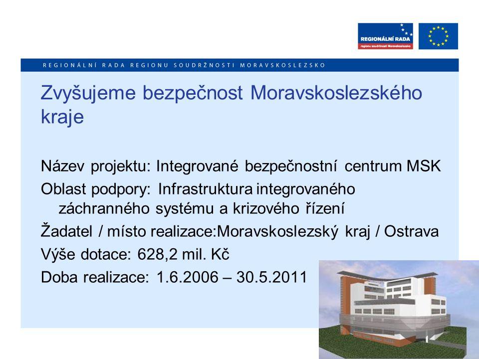 Zvyšujeme bezpečnost Moravskoslezského kraje Název projektu: Integrované bezpečnostní centrum MSK Oblast podpory: Infrastruktura integrovaného záchran