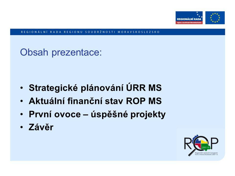 Obsah prezentace: Strategické plánování ÚRR MS Aktuální finanční stav ROP MS První ovoce – úspěšné projekty Závěr