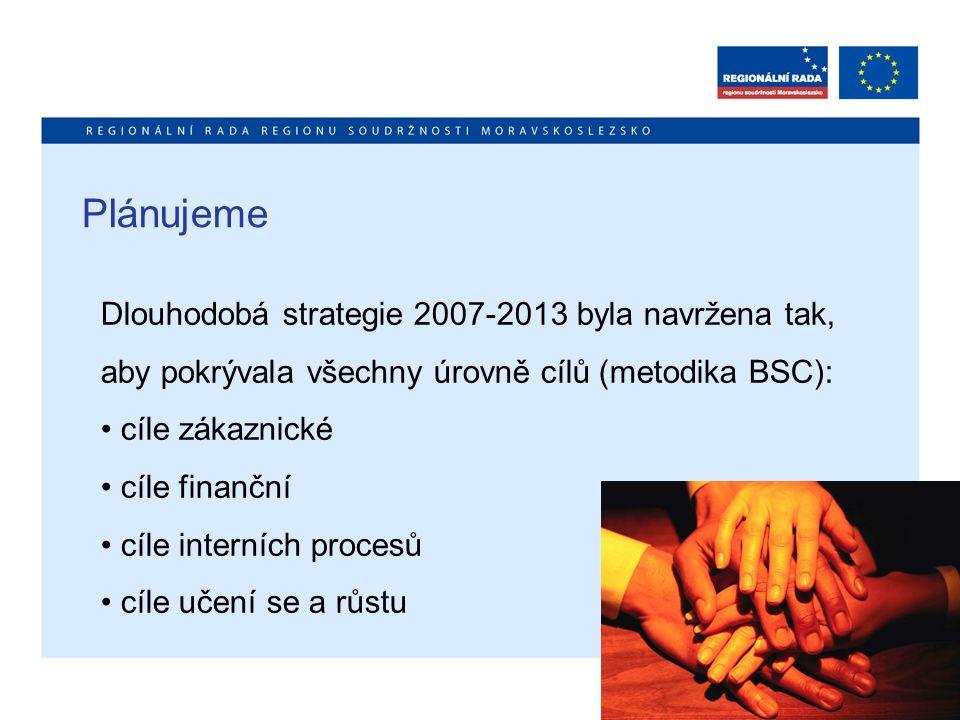 Plánujeme Dlouhodobá strategie 2007-2013 byla navržena tak, aby pokrývala všechny úrovně cílů (metodika BSC): cíle zákaznické cíle finanční cíle inter