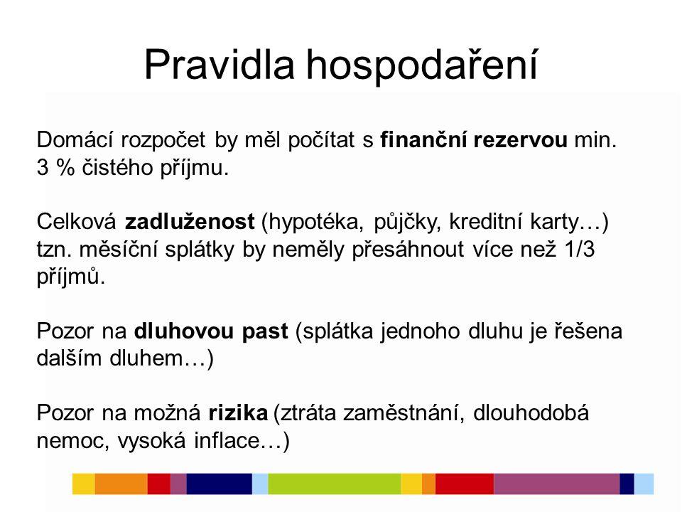 Pravidla hospodaření Domácí rozpočet by měl počítat s finanční rezervou min. 3 % čistého příjmu. Celková zadluženost (hypotéka, půjčky, kreditní karty