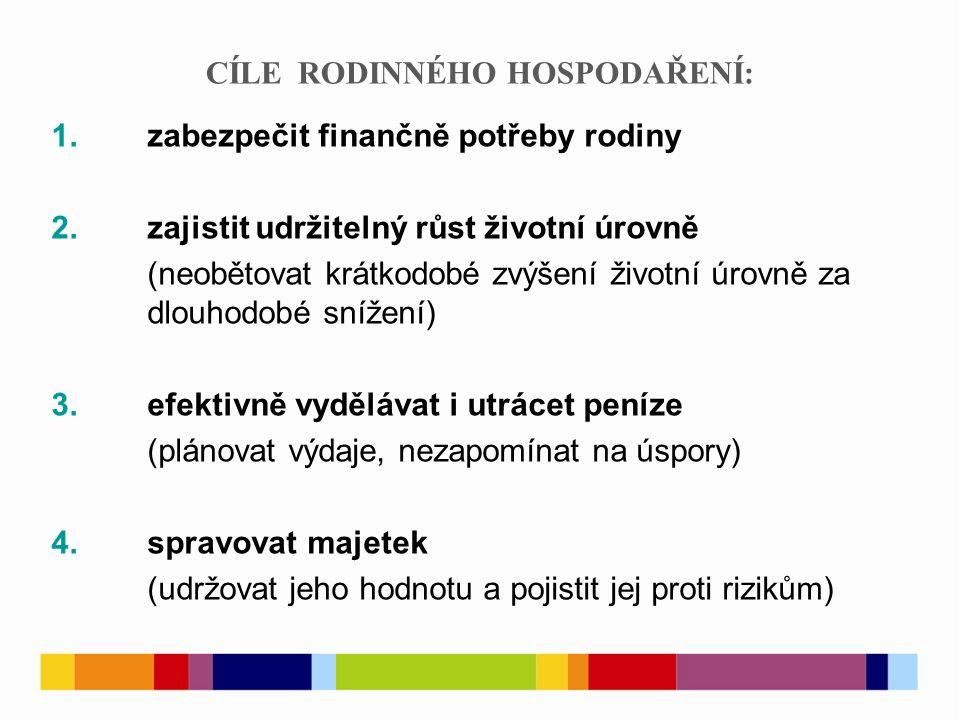 CÍLE RODINNÉHO HOSPODAŘENÍ: 1. zabezpečit finančně potřeby rodiny 2. zajistit udržitelný růst životní úrovně (neobětovat krátkodobé zvýšení životní úr