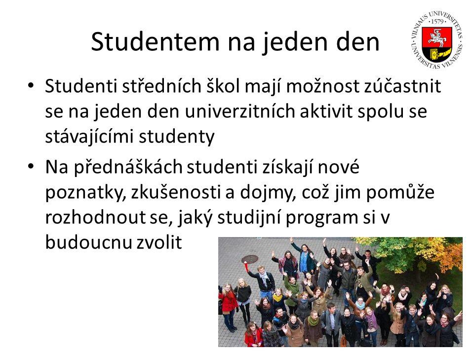 Studentem na jeden den Studenti středních škol mají možnost zúčastnit se na jeden den univerzitních aktivit spolu se stávajícími studenty Na přednášká