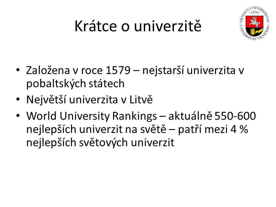 Vilniuská univerzita v číslech Přes 20 000 studentů Přes 2 300 vyučujících a výzkumných pracovníků Téměř 70 bakalářských studijních programů Přes 110 magisterských studijních programů Postgraduální studijní programy ve 30 různých oborech Rozpočet v roce 2012: 3 266 839 279,00 Kč