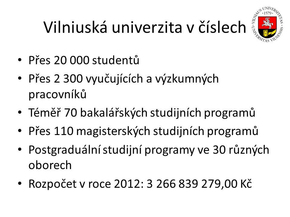 Vilniuská univerzita v číslech Přes 20 000 studentů Přes 2 300 vyučujících a výzkumných pracovníků Téměř 70 bakalářských studijních programů Přes 110
