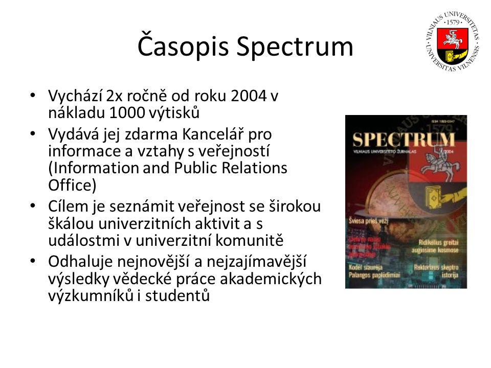 Časopis Spectrum Vychází 2x ročně od roku 2004 v nákladu 1000 výtisků Vydává jej zdarma Kancelář pro informace a vztahy s veřejností (Information and