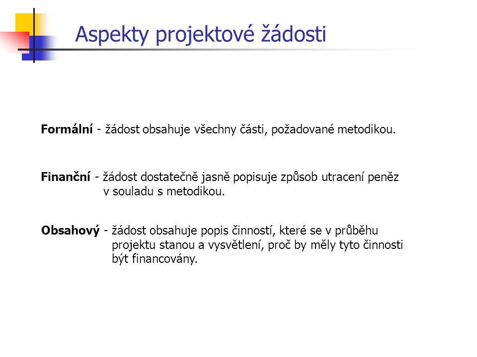 Aspekty projektové žádosti Formální - žádost obsahuje všechny části, požadované metodikou.