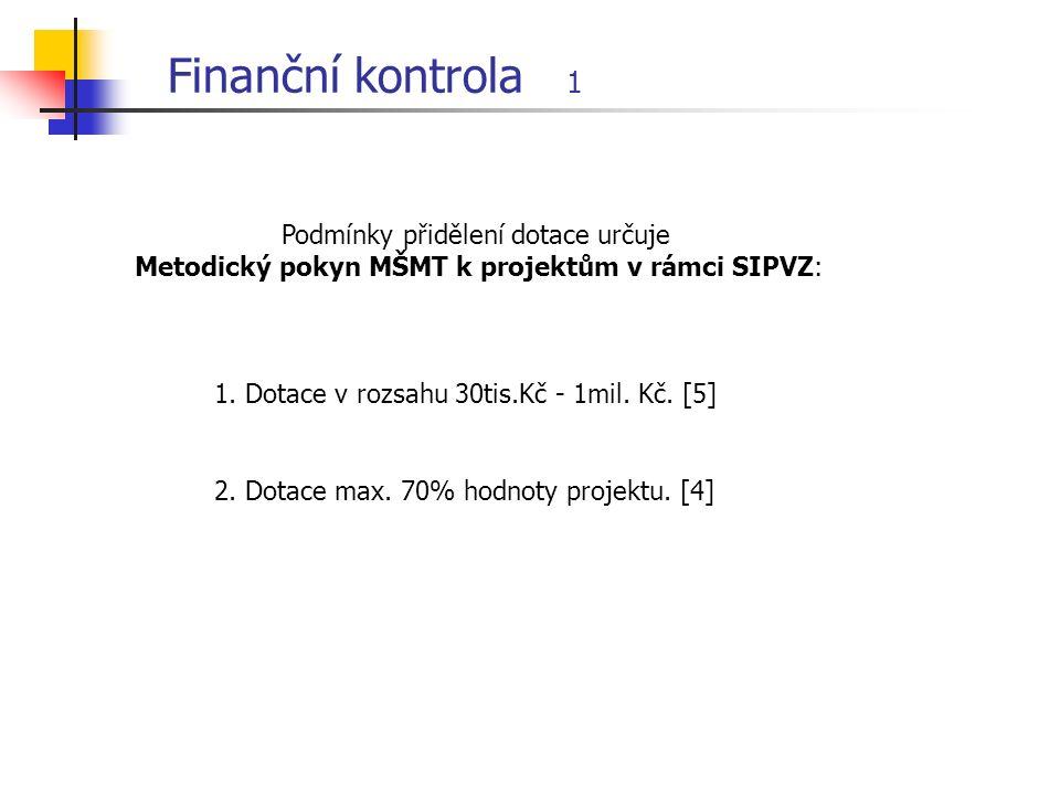 Finanční kontrola 1 1. Dotace v rozsahu 30tis.Kč - 1mil.