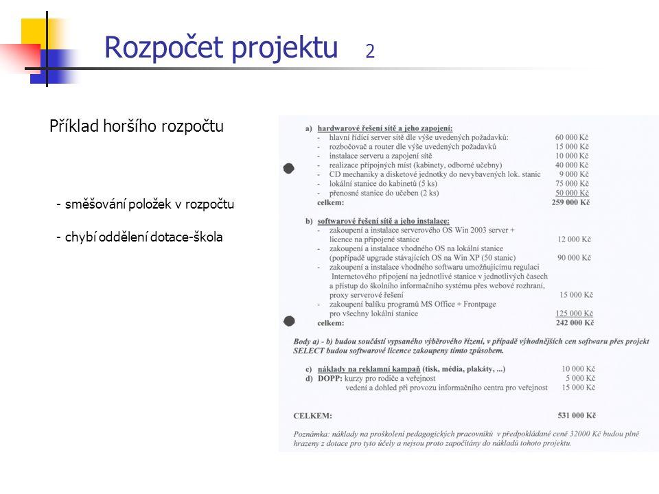 Rozpočet projektu 2 Příklad horšího rozpočtu - směšování položek v rozpočtu - chybí oddělení dotace-škola