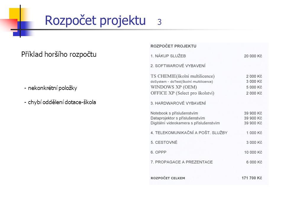 Rozpočet projektu 3 Příklad horšího rozpočtu - nekonkrétní položky - chybí oddělení dotace-škola