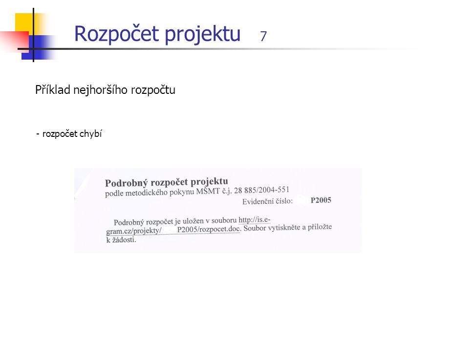 Rozpočet projektu 7 Příklad nejhoršího rozpočtu - rozpočet chybí