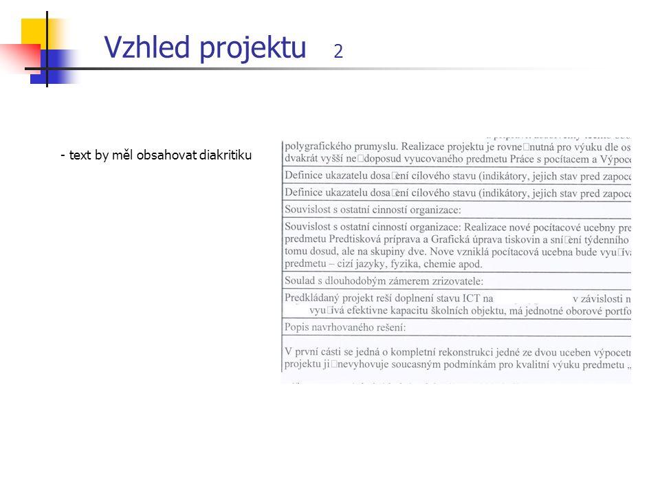 Vzhled projektu 2 - text by měl obsahovat diakritiku