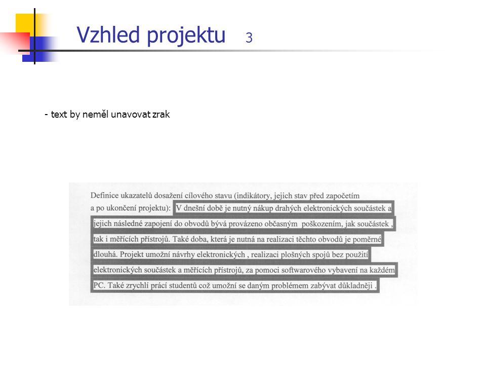 Vzhled projektu 3 - text by neměl unavovat zrak