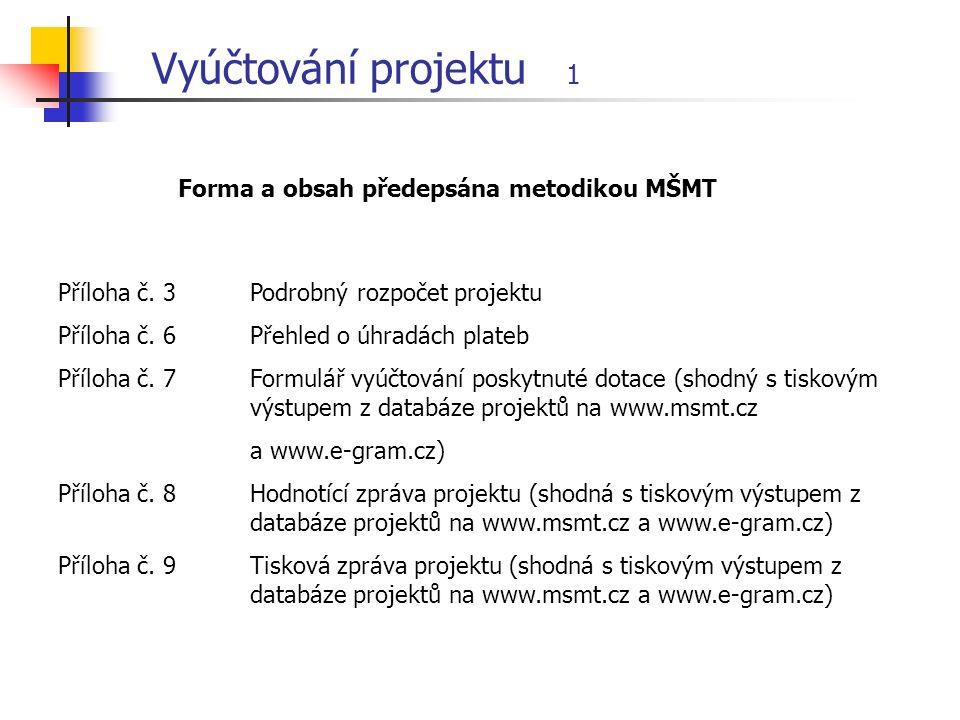 Vyúčtování projektu 1 Příloha č. 3 Podrobný rozpočet projektu Příloha č.