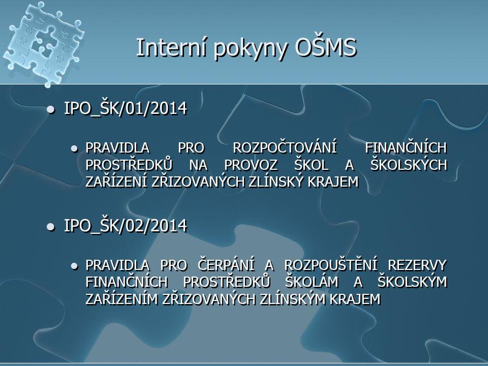 Interní pokyny OŠMS IPO_ŠK/01/2014 PRAVIDLA PRO ROZPOČTOVÁNÍ FINANČNÍCH PROSTŘEDKŮ NA PROVOZ ŠKOL A ŠKOLSKÝCH ZAŘÍZENÍ ZŘIZOVANÝCH ZLÍNSKÝ KRAJEM IPO_