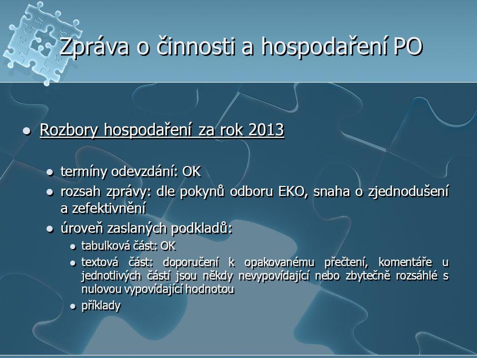 Zpráva o činnosti a hospodaření PO Rozbory hospodaření za rok 2013 termíny odevzdání: OK rozsah zprávy: dle pokynů odboru EKO, snaha o zjednodušení a