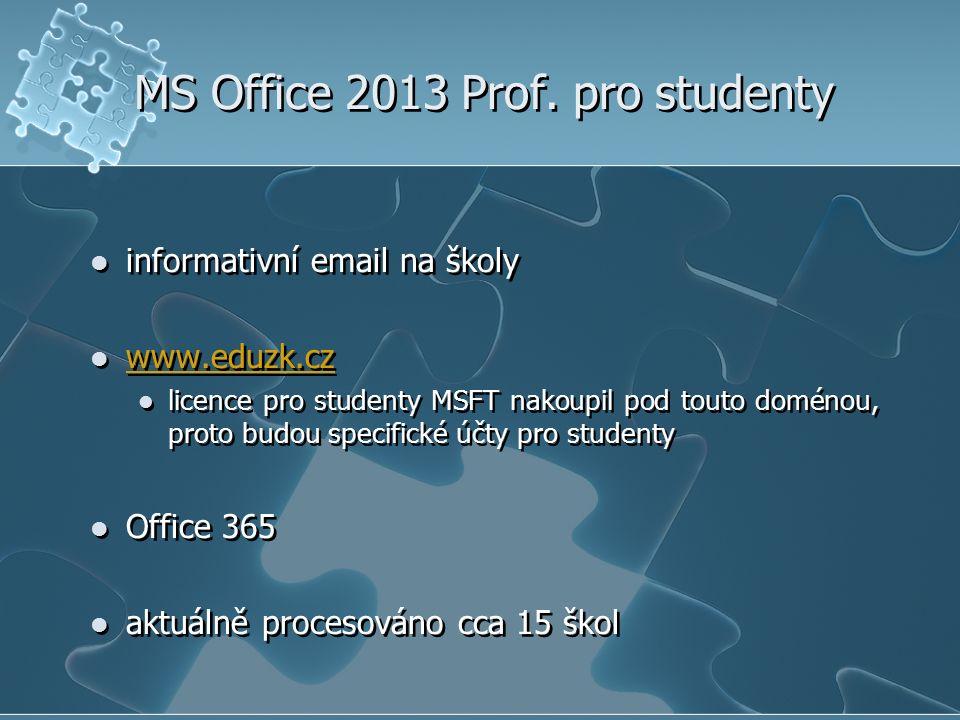 MS Office 2013 Prof. pro studenty informativní email na školy www.eduzk.cz licence pro studenty MSFT nakoupil pod touto doménou, proto budou specifick