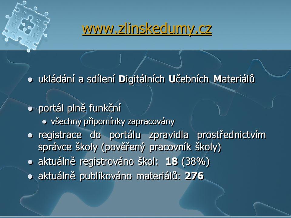 www.zlinskedumy.cz ukládání a sdílení Digitálních Učebních Materiálů portál plně funkční všechny připomínky zapracovány registrace do portálu zpravidl