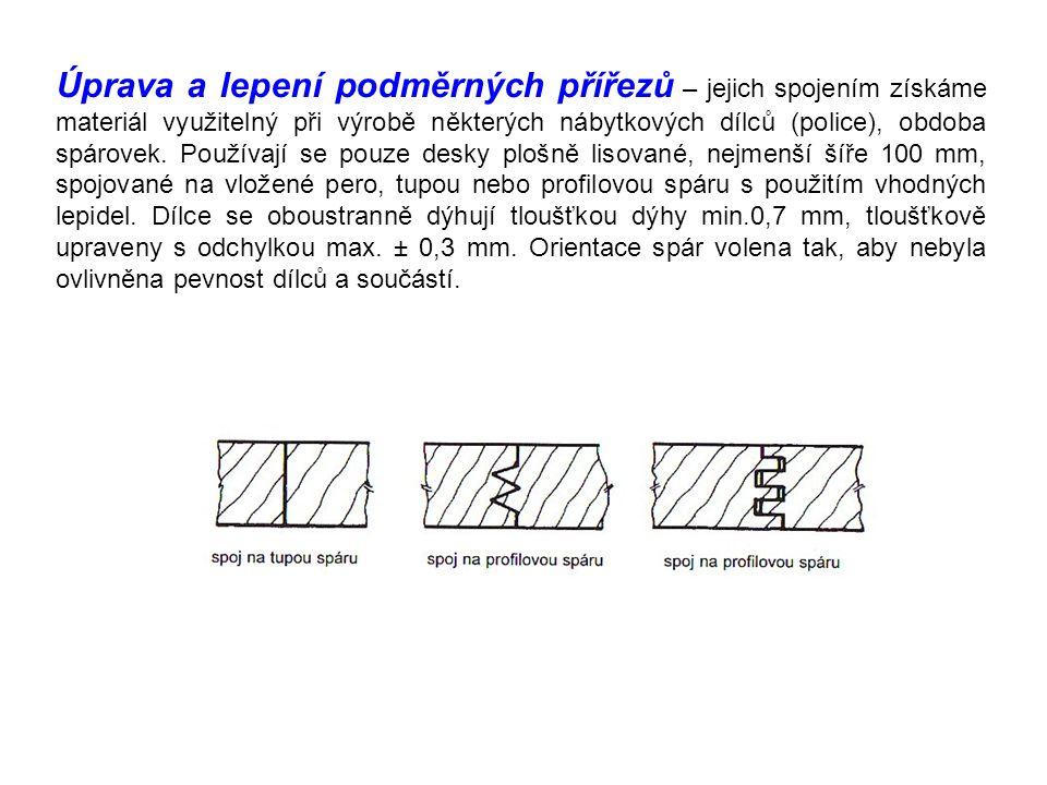 Úprava a lepení podměrných přířezů – jejich spojením získáme materiál využitelný při výrobě některých nábytkových dílců (police), obdoba spárovek. Pou
