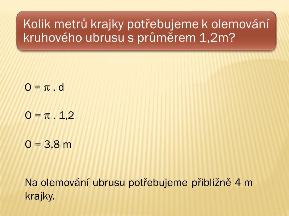 Kolik metrů krajky potřebujeme k olemování kruhového ubrusu s průměrem 1,2m.