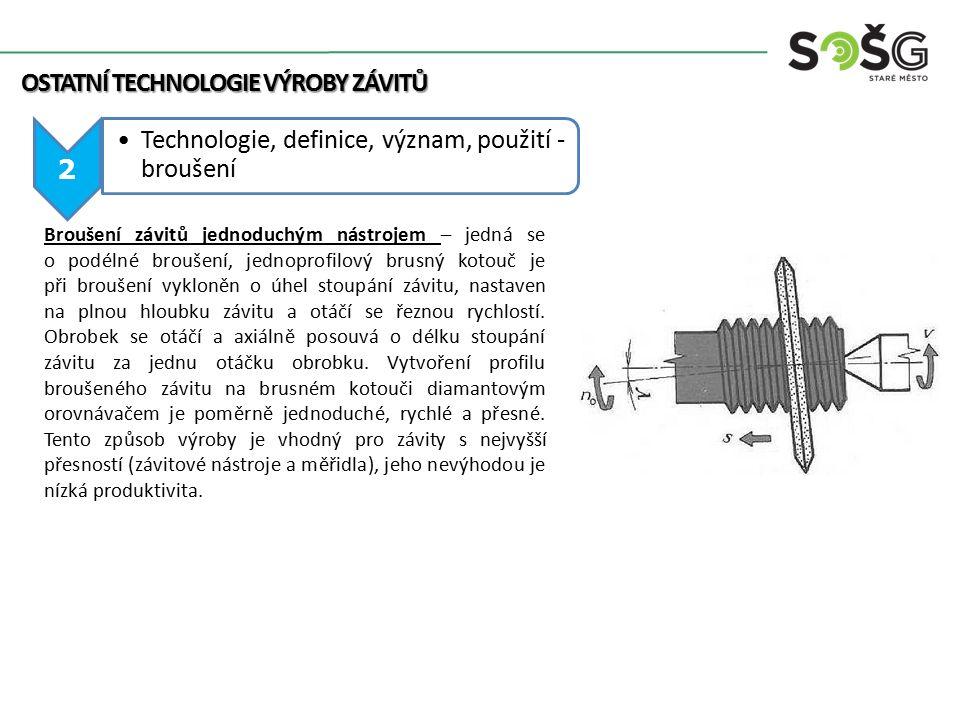2 Technologie, definice, význam, použití - broušení OSTATNÍ TECHNOLOGIE VÝROBY ZÁVITŮ Broušení závitů jednoduchým nástrojem – jedná se o podélné brouš
