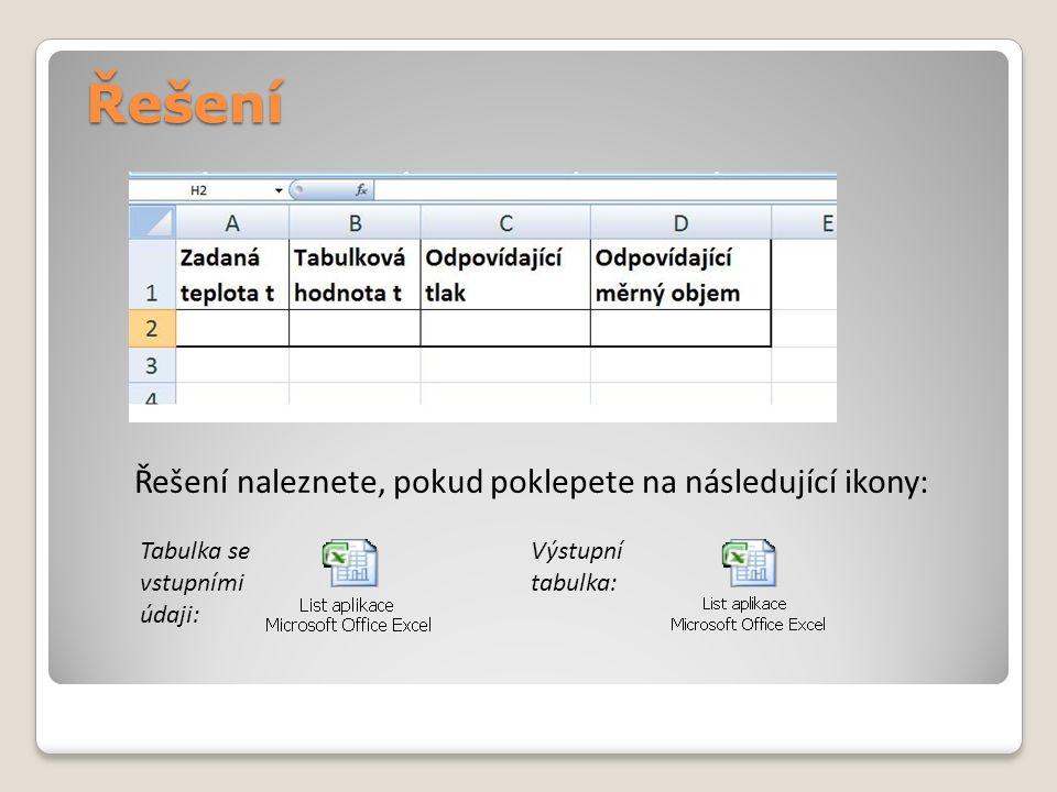 Řešení Řešení naleznete, pokud poklepete na následující ikony: Tabulka se vstupními údaji: Výstupní tabulka: