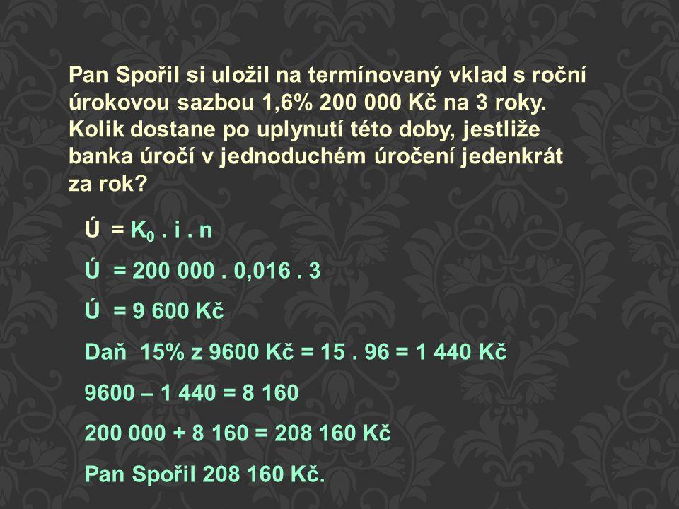 Pan Spořil si uložil na termínovaný vklad s roční úrokovou sazbou 1,6% 200 000 Kč na 3 roky.