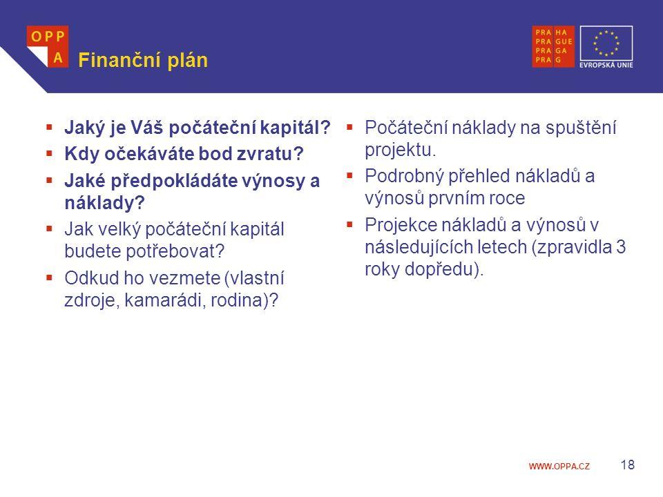 WWW.OPPA.CZ Finanční plán  Jaký je Váš počáteční kapitál?  Kdy očekáváte bod zvratu?  Jaké předpokládáte výnosy a náklady?  Jak velký počáteční ka