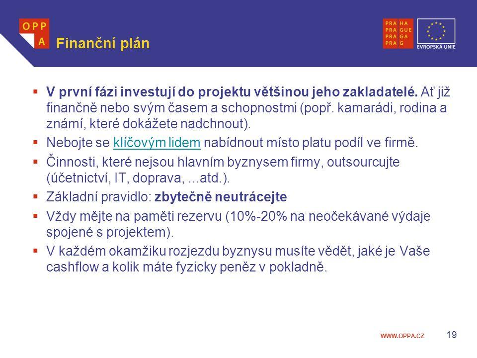 WWW.OPPA.CZ Finanční plán  V první fázi investují do projektu většinou jeho zakladatelé. Ať již finančně nebo svým časem a schopnostmi (popř. kamarád